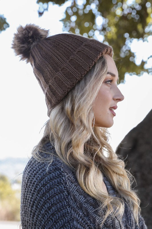 Mocha Fur Pom Beanie Boutique