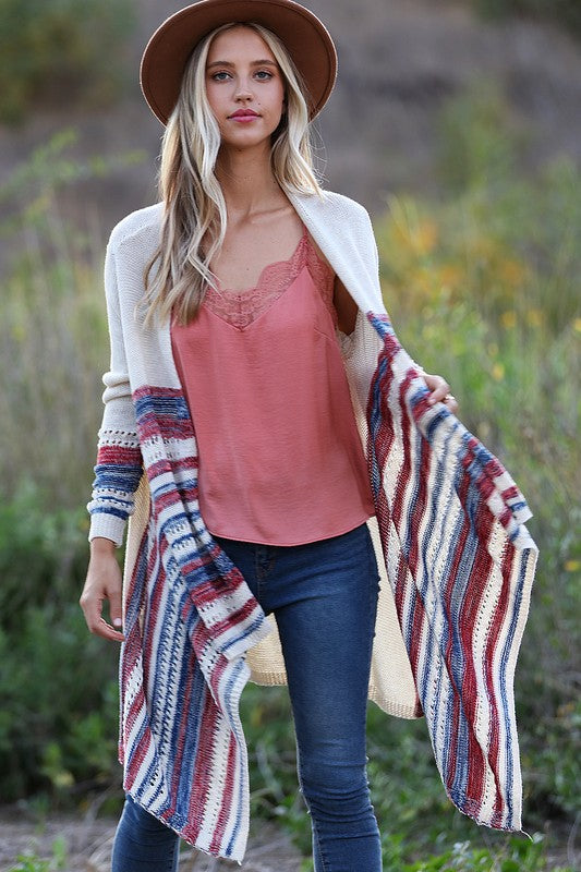 Multi Stripe Light Weight Knit Cardigan.boutique boho pretty