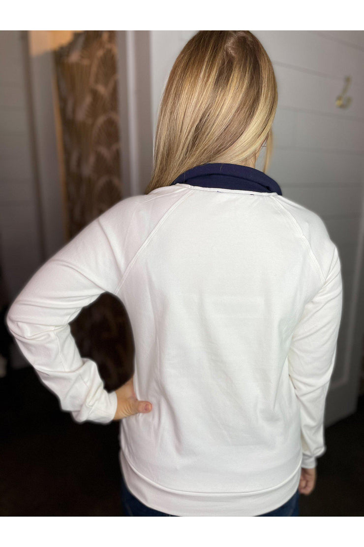ivory colorblock quarter zip pullover boho pretty boutique womens clothing