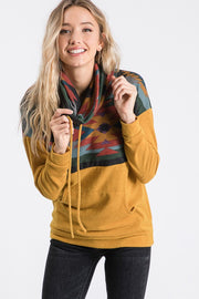 mustard aztec cowl neck sweatshirt boho pretty boutique