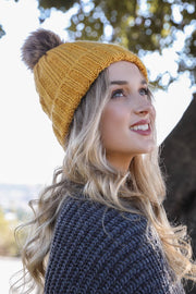 Mustard Beanie Hat Boutique Cute Pom Faux Fur