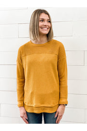 mustard contrast knitted round neck top comfortable fall womens clothing online mobile boho pretty boutique.