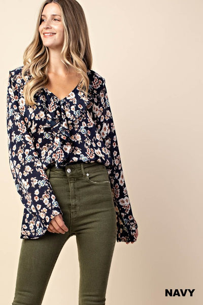 navy floral, satin, ruffle neck, blouse, womens fashion, boho pretty.jpg