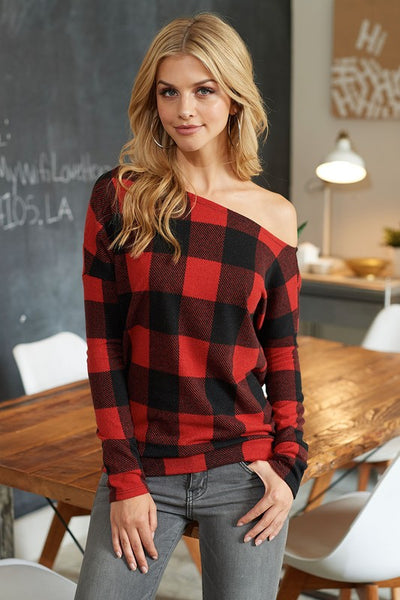 off the shoulder, sweater, plaid, red, boho pretty, womens fashion