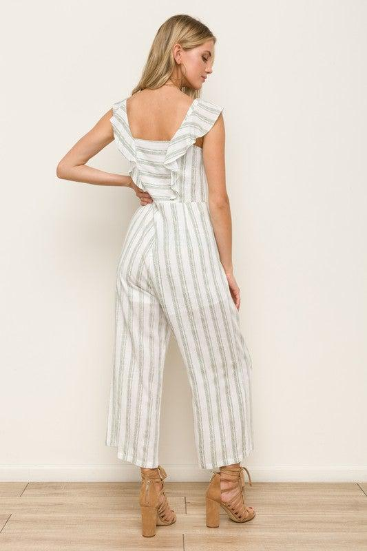 Ruffle Sleeve Stripe Jumpsuit   100% Rayon  Lining 100% Cotton