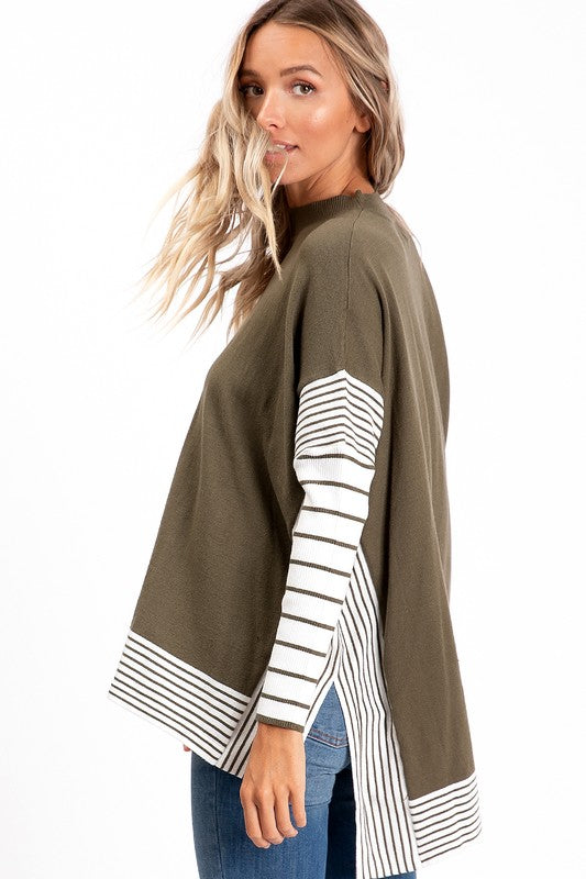 Boho Style Olive Stripe Sweater Poncho. Boutique