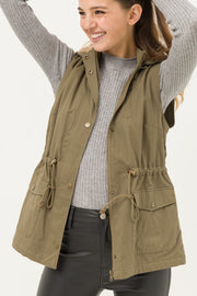 olive faux fur lined anorak vest boho pretty online womens fall boutique clothing