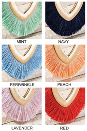 open metal marquise v shape fine thread tassel long neckalce boutique