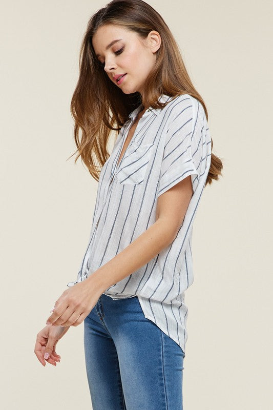 Basic Collar Chest Pocket Oversize Button Down Stripe Shirt