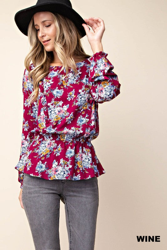 peplum, ruffle, detailed top, long sleeve, boho pretty, womens fashion