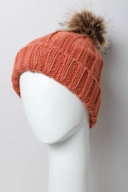Persimmon faux fur pom hat