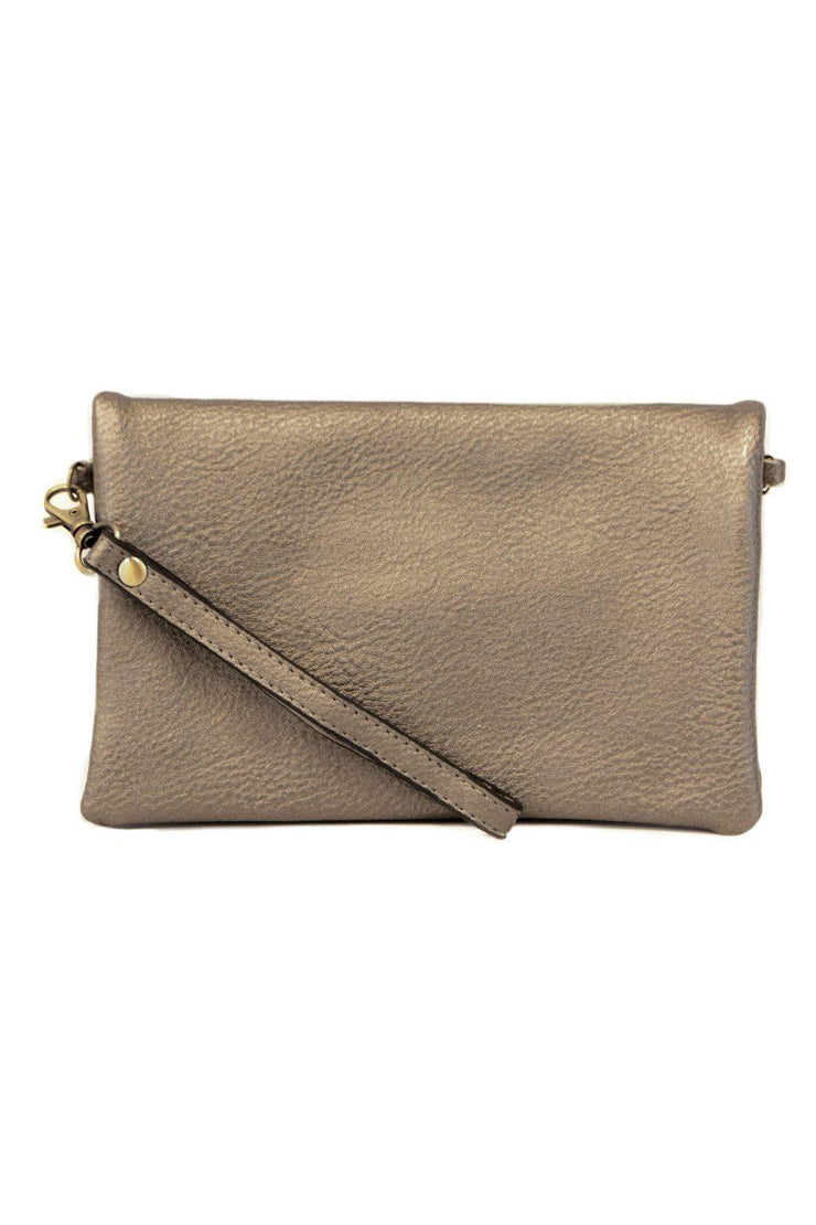 "It's just the right size for carrying all your essentials. Features three zip compartments, 6 credit card slots and a license pocket. Style it with either the slender wristlet strap or slim   pewter Made With Vegan Leather.  8"" W x 5""H x 1.5""D 11-23"" Crossbody Strap Drop 6 Credit Card Slots and License holder 3 Zippered Compartments"