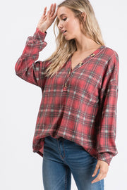 Cozy Plaid Button Detail Top.