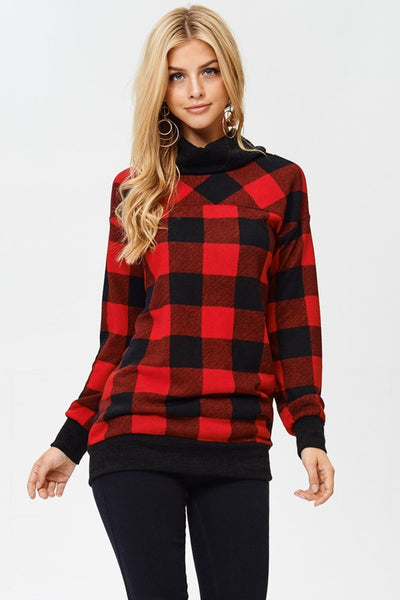 plaid, long sleeve, red, sweater, boho pretty, womens fashion