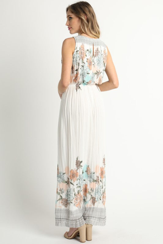 Pleats Floral Maxi Dress
