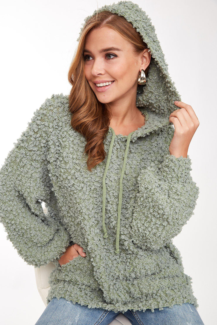 popcorn texture fleece hoodie boho pretty boutique