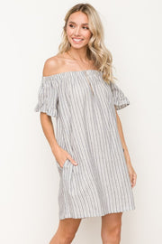 Raw Edge Stripe Off The Shoulder Dress With Pockets   70% Cotton 30% Linen