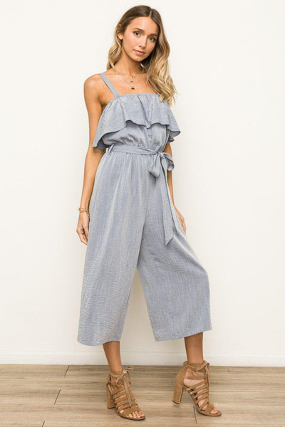 Ruffle Bust Adjustable Band Waist Jumpsuit