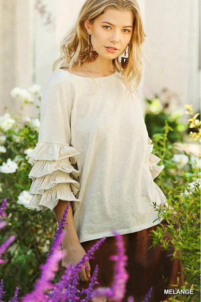 Layered Ruffle Sleeve Top.