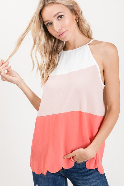 Halter neck top with color block and scallop edge detail on the hem, keyhole back tie. Super cute and perfect for Summer! And comes in 2 colors!