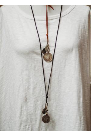 Traveler Coin Leather Necklace