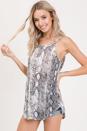 Snake Print Sleeveless Top. boho pretty boutique