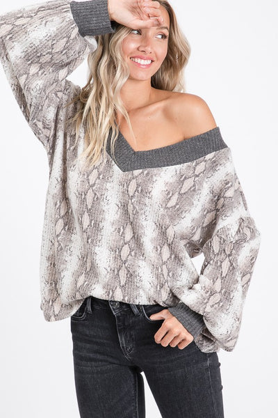 Snake Skin Bishop Sleeve Top boho pretty boutique