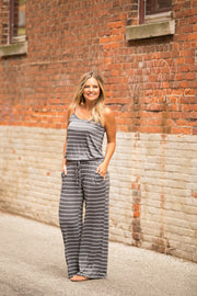 Stripes All The Way Jumpsuit- Charcoal