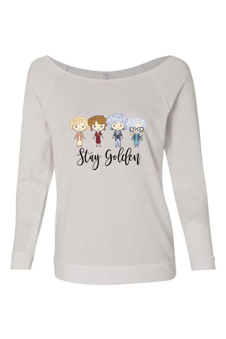 Stay Golden Off The Shoulder Top. 3/4 sleeve Raglan Tee   50% Cotton 50% Poly