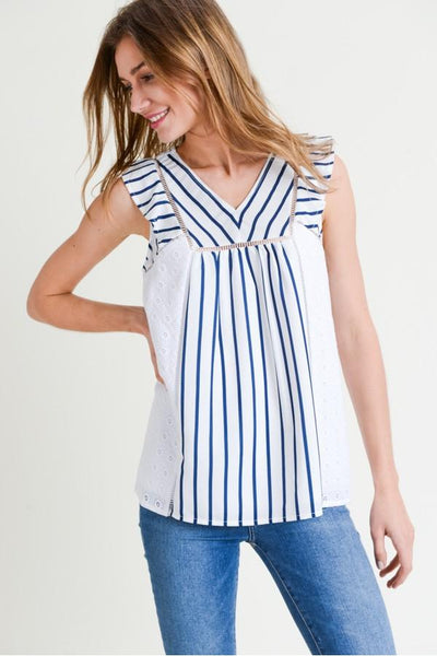 Stripe and Embroidery Mixed Ruffle Sleeve Hi-Low Top