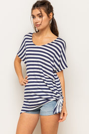 V-Neck Stripe Drop Shoulder Soft Terry Top Comfortable Loose Fit, Tie or untie the side for a different look