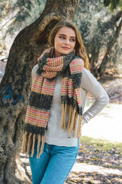 striped, tassel, blanket scarf, black, boho pretty, womens fashion, accessories.jpg