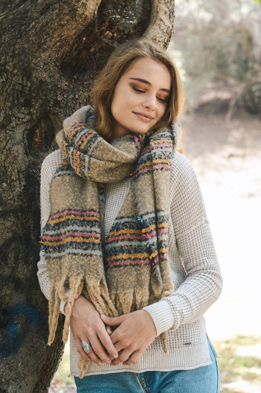 striped, tassel, blanket scarf, gray, boho pretty, womens fashion, accessories.jpg