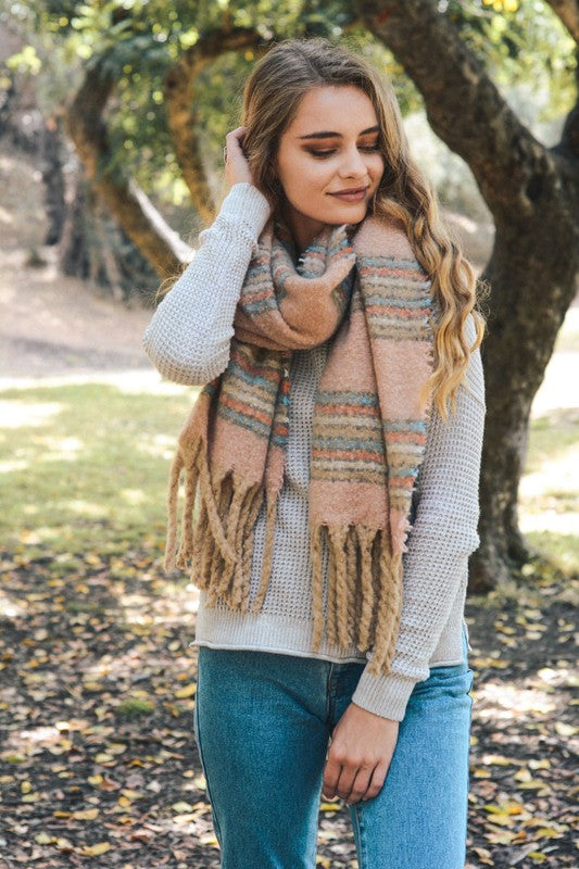 striped, tassel, blanket scarf, pink, boho pretty, womens fashion, accessories.jpg