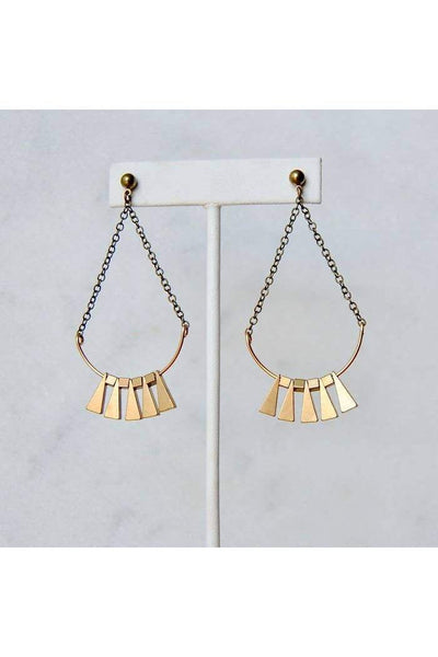 Length: 3 Inches; Drop length: 3 Inches; Width: 1 3/8 Inches  Bright brass bohemian dangles.  Nickel Free Brass studs.