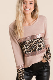Sweater Knit Top With Sequins and Leopard Block. boho pretty boutique
