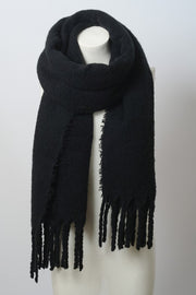tassel trim, scarf, solid, black, boho pretty, womens fashion.jpg