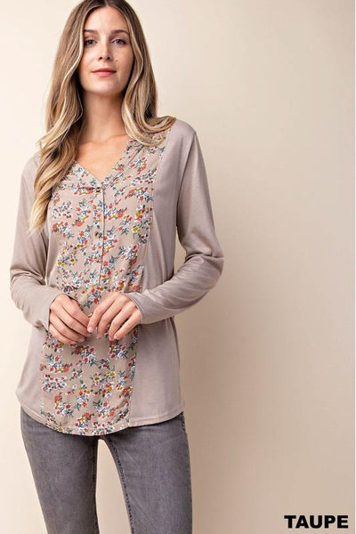 taupe, mixed fabric, floral, tab sleeves, boho pretty, womens fashion.jpg