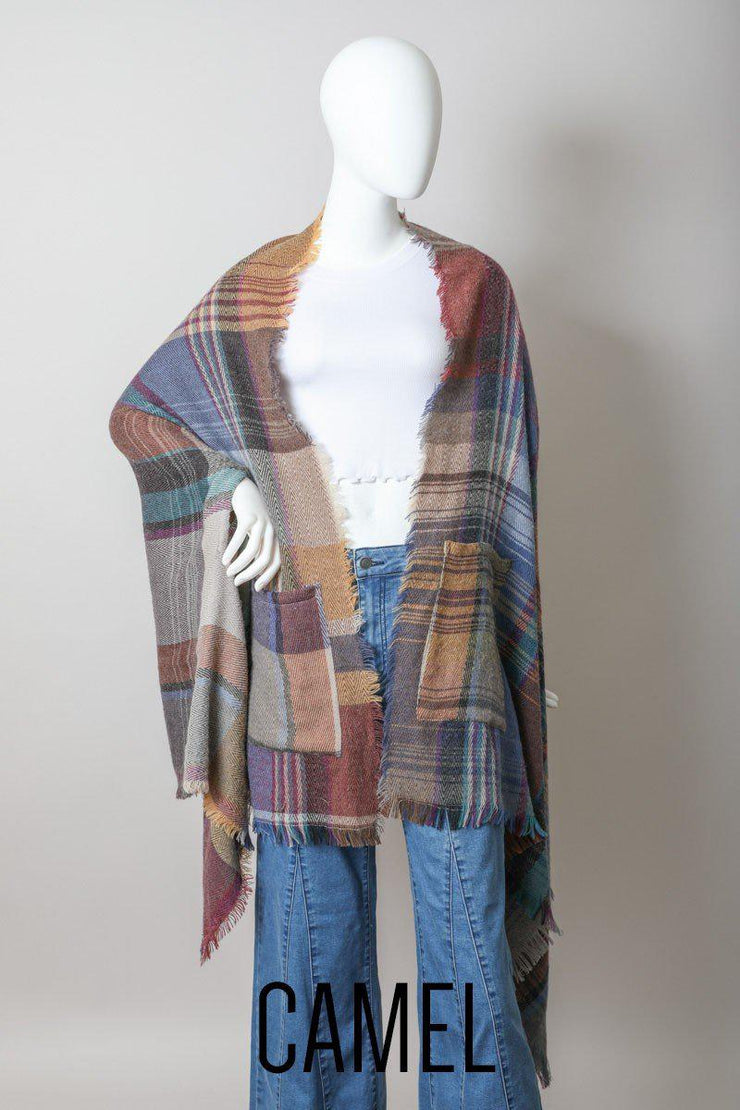 Multicolor Plaid Pocket Ruana