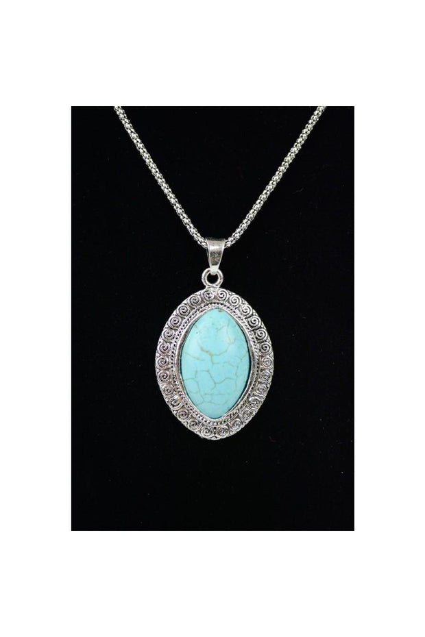 Oval Turquoise Pendant Necklace.   Lobster Clasp Closure 100% Turquoise Stone  Elegant oval medallion turquoise necklace.