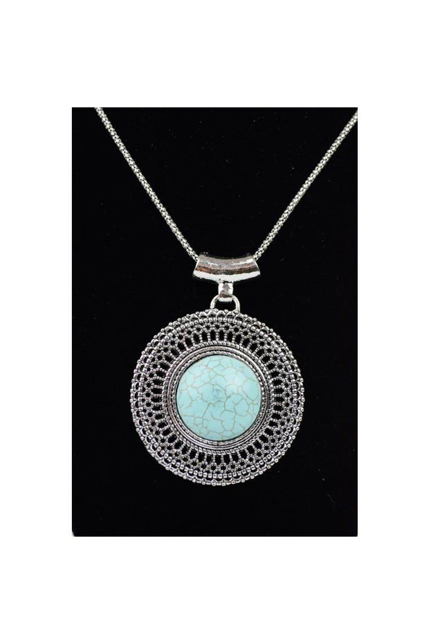 "Boho Vibes Turquoise Pendant Necklace.  100% Turquoise Stone Chain Length up to 21"" Lobster Clasp Closure"