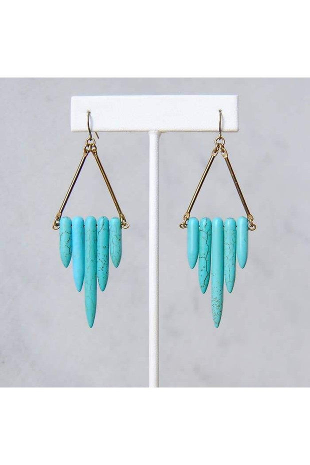 Length: 3 3/8 Inches; Drop length: 3 3/8 Inches; Width: 1 1/8 Inches Handmade.  Make a statement with these boho beauties. Five gorgeous howlite stone beads in an angular shape hang confidently from vintage brass bars.