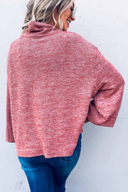 Mauve Turtleneck Balloon Sleeve Sweater Boutique Boho Pretty