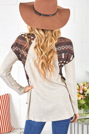 Waffle Knit LongSleeve Knit Top With Aztec Print  Boho Pretty Boutique