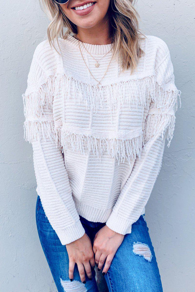 Western fringe pullover sweater ivory boho pretty boutique