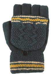 Blue Fingerless Gloves With Cap 100% Acrylic boutique gloves