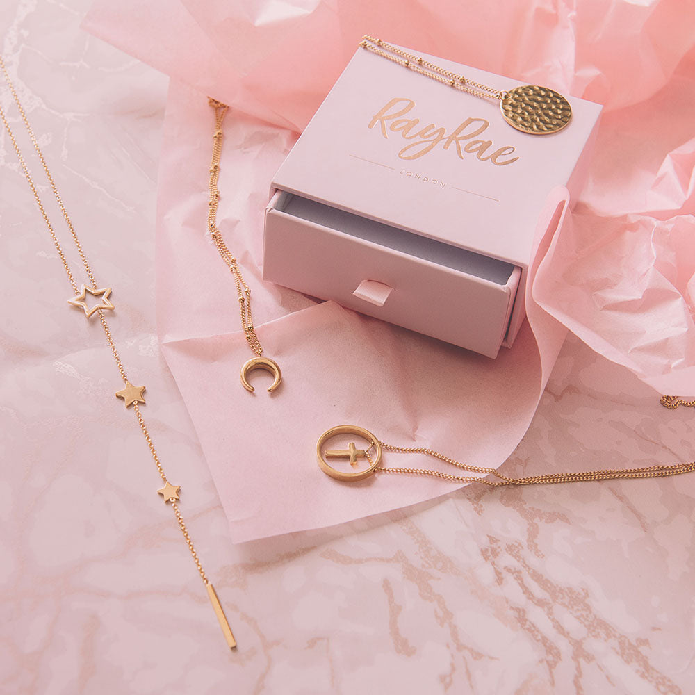 Gold plated fashion necklaces with RayRae gift box