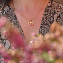 Load image into Gallery viewer, Cute Gold Plated Cross Necklace on model