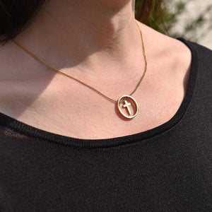 Cute Gold Plated Cross Necklace on model