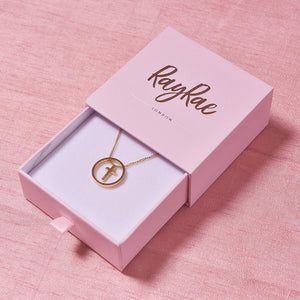 Cute Gold Plated Cross Necklace with Gift Box